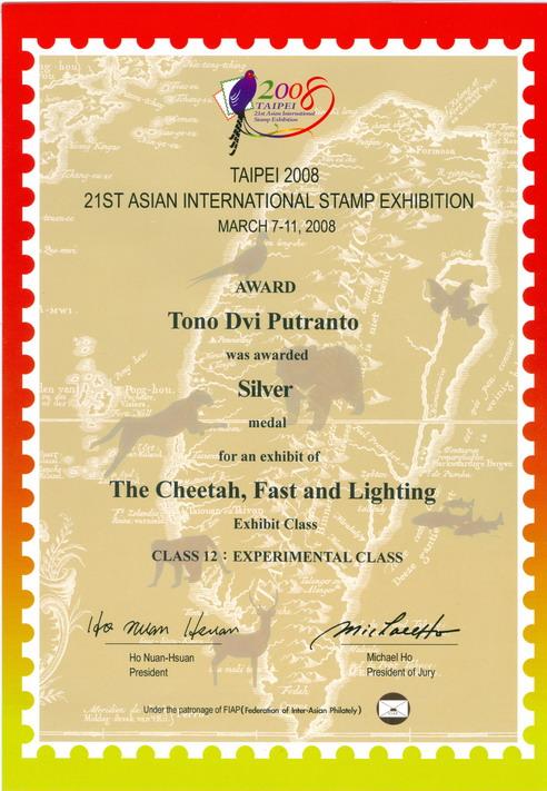 Sertifikat yang diperoleh Tono (Silver).